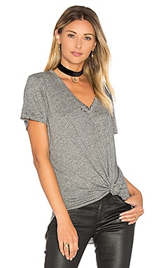 Manny Unfinished Hem Tee in Heather Grey Burnout
