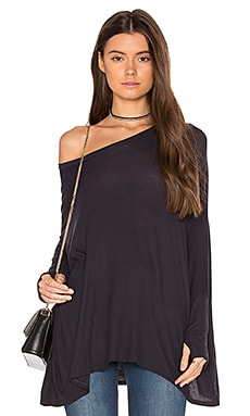 Branson Drape Thumbhole Tee in Navy Night