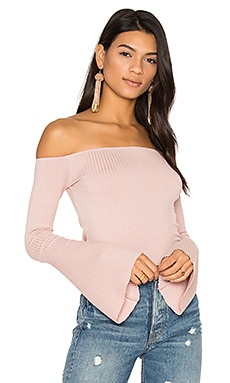 Hyatt Off Shoulder Bell Sleeve Top in Pink Ash