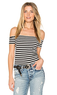 Parket Off Shoulder Top in Black Stripe