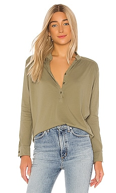 Glen Long Sleeve Button Front Henley Top Michael Lauren $110 NEW ARRIVAL