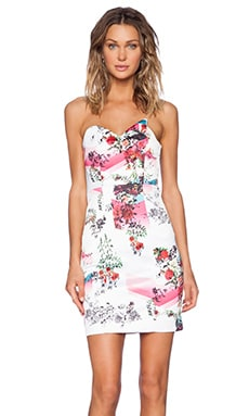 MLM Label Spikepoint Strapless Dress in Digital Floral