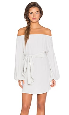 Dash Off Shoulder Tie Dress in Moss