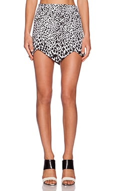 MLM Label Spike Point Mini Skirt in Leopard Houndstooth
