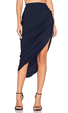 MLM Label Pullback Midi Skirt in Blue
