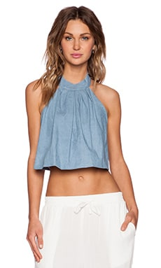 MLM Label Accordian Denim Crop Top in Washed Soft Denim