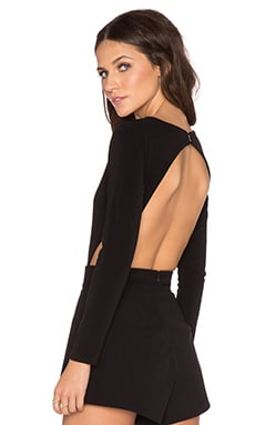 MLM Label Long Sleeve Openback Bodysuit in Black