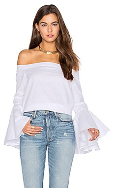 Linea Shoulder Top in White Cotton