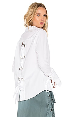 Cairo Eyelet Button Up in White