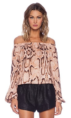 MLM Label Align Off The Shoulder Blouse in Digital Snake