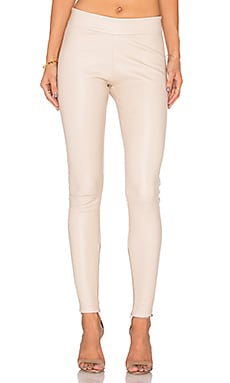 Leather Seamed Legging in Beige