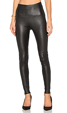 High Waisted Leather Legging in Black
