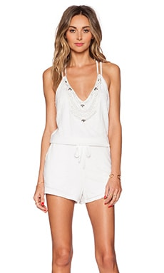 MLV Reese Beaded Romper in White