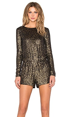 MLV Ramona Sequin Romper in Black & Gold