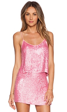 MLV Britney Sequin Crop Top in Carnation
