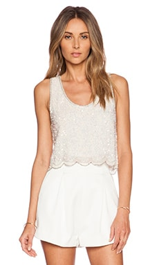 MLV Ariel Sequin Crop Top in White