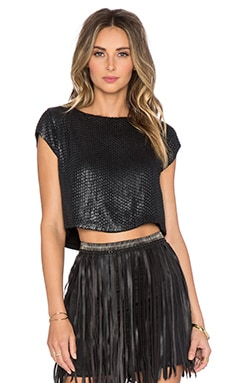 MLV Presley Sequin Top in Black