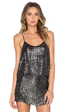 MLV Ozzy Sequin Top in Black