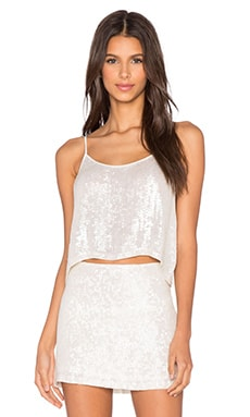 MLV Britney Sequin Crop Top in White