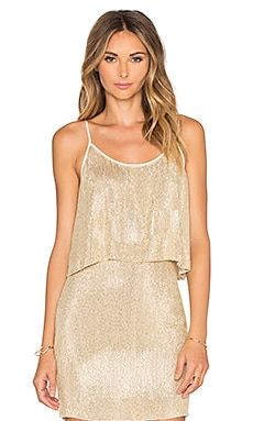 Paige Sequin Crop Top in Gold