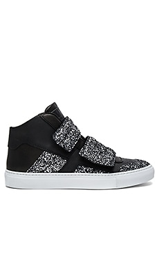 Hi Top Sneaker in Black & Silver