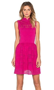 M Missoni Solid Rib Stitch Fit and Flare Dress in Fuschia