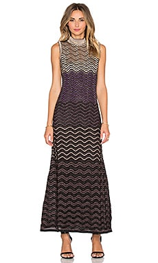 M Missoni Ripple Stitch Lurex Sweater Dress in Eggplant