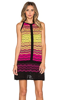M Missoni Degrade Ripple Knit Drop Waist Mini Dress in Fuschia