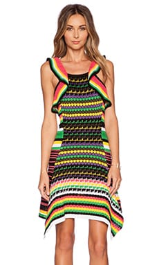 M Missoni Crochet Ruffle Knit Dress in Black