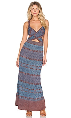 M Missoni Zig Zag Cut Out Maxi Dress in Vicuna
