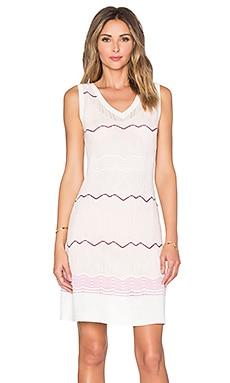 M Missoni Sleeveless Zig Zag V Neck Mini Dress in Blush