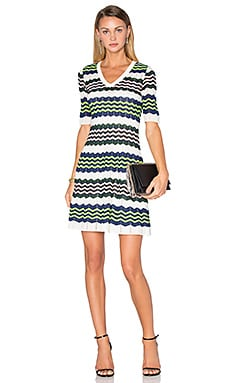 M Missoni 3/4 Sleeve Zig Zag Dress in Ivory