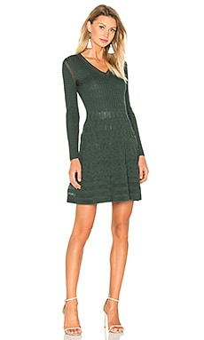 M Missoni Long Sleeve V Neck Dress in Evergreen