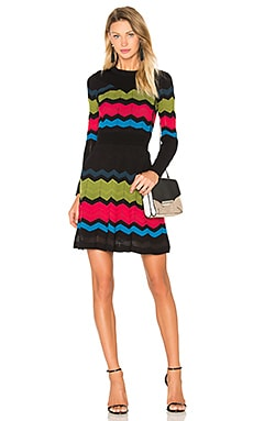 M Missoni Zig Zag Block Sweater Dress in Rasberry