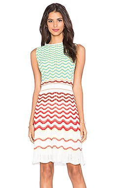 M Missoni Multi Stripe Shift Dress in Red