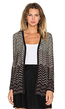 M Missoni Ripple Stitch Lurex Cardigan in Black