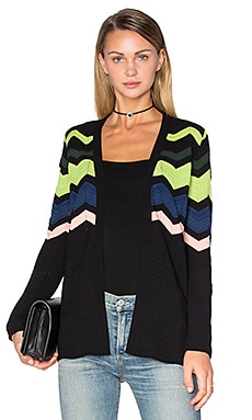 M Missoni Zig Zag Block Cardigan in Black