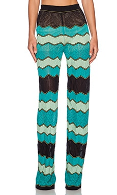 M Missoni Zig Zag Wide Leg Pants in Aqua