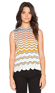 M Missoni Zig Zag Stripe Tank in Ivory
