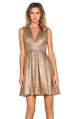 Minty Meets Munt Plunge Neck Dress in Rose Gold