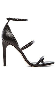 The Mode Collective Triple Strap Sandal in Black Lizard