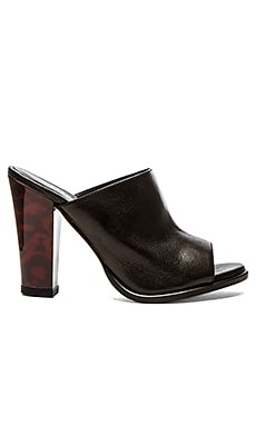 The Mode Collective Classic Open Toe Mule in Black Leather