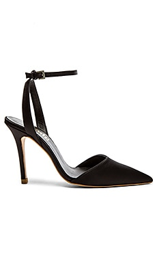 The Mode Collective Ankle Strap Mid Heel in Black Satin
