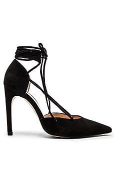 The Mode Collective Lace Up Pump in Black Suede