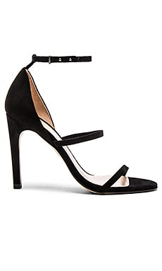 The Mode Collective Triple Strap Sandal in Black Suede
