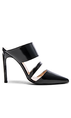 The Mode Collective Double Strap Mule in Semi Patent Black