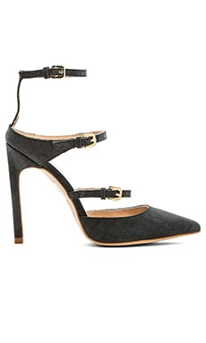 The Mode Collective Tripe Strap Point Heel in Matte Black Croc