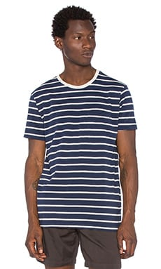 Mollusk Striped Pocket Tee in Wide Navy Stripe