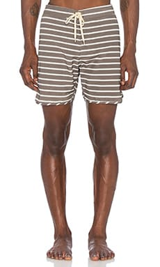 Mollusk Cut Out Stripes Trunks in Faded Black