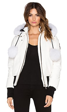 Moose Knuckles Debbie Artic Fox Fur Bomber Jacket in Snow White & White
